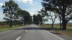 Driving a Car on a Country Road - Time-Lapse - POV Hyperlapse Stock Footage