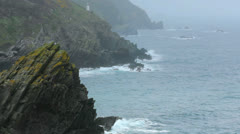 Foggy Rocky Coast Polperro Cornwall England - 25FPS PAL Stock Footage
