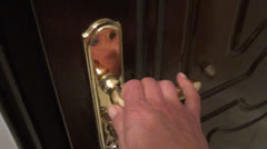Closing and locking door 2 Stock Footage