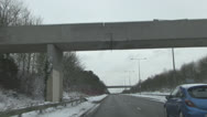 Stock Video Footage of  Wintry Driving Conditions on Dual Carriageway in uk