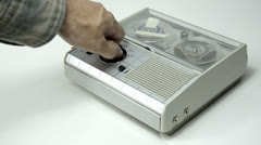 Mini Old Tape Recorder 03 Stock Footage