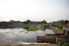 Dam is water retention. Stock Photos