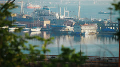 View of sea port. truck passes near Stock Footage
