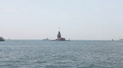 Cruise in Bosphorus, Maiden's Tower , Istanbul, turkey - stock footage