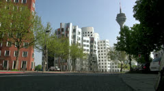 Spectacular post-modern architecture in Dusseldorf Stock Footage