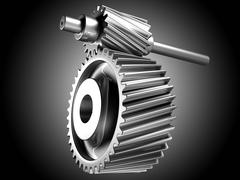 Close up of spinning steel silver chrome cogs gears pinions or engine parts. Stock Illustration