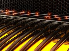 Modern network switch with cables. Stock Illustration