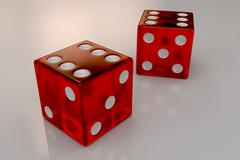 Two glossy red plastic bouncing dices - stock illustration
