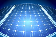 Sunny solar panels in a solar power station Stock Illustration