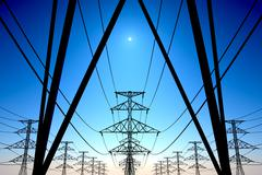 Electricity pylons and power lines industry metal construction wires sun and sky Stock Illustration