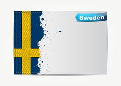 Stitched sweden flag with grunge paper frame Stock Illustration