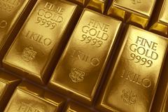 Stacked gold bars - stock illustration