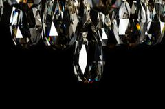Contemporary glass chandelier crystals closeup Stock Photos