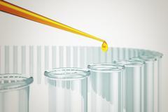 Liquid drop falling into test tube. - stock illustration