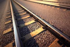 Railroad straight track. Stock Illustration