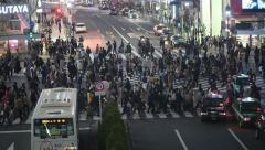 Video shot of Shibuya's main road crossing in Tokyo Stock Footage