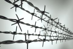 Prison, barbed wire fence, incarceration loopable animation. - stock illustration