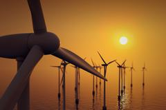 Floating wind turbines during hazy day. Stock Illustration