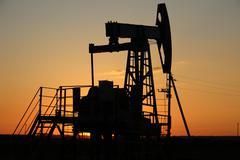 Oil production. oil pumps Russia - stock photo