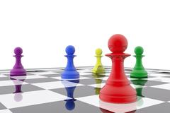 chess pawns in different colors - stock illustration