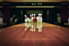 Ten-pin bowling shot. - stock illustration