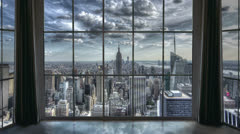 New York City View from Window Stock Footage