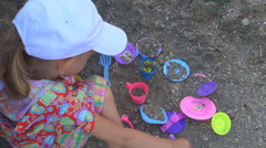 Child Playing by Kitchen with Toys in Sand, Girl Pretend Cooking, Children Stock Footage