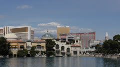 Las Vegas Strip, Boulevard, Mirage, Treasure Island, Venetian, Bellagio Fountain Stock Footage