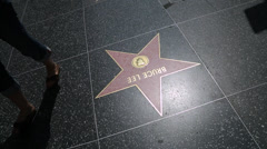 Hollywood walk of fame walking shot Michael Jackson Stock Footage