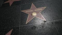 Hollywood walk of fame walking shot Michael Jackson - stock footage