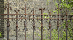Old iron rusty fence Stock Footage
