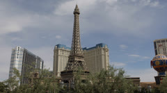 Las Vegas Strip Eiffel Tower Paris Casino Bellagio Fountain Beautiful Vacation Stock Footage