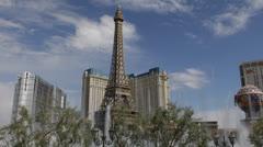 Eiffel Tower Paris Hotel Bellagio Fountain Poker Roulette Slots Las Vegas Strip Stock Footage