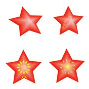 Set vector red color stars jewelry for New Year Stock Illustration
