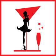Abstraction WOMAN silhouette black and red glass - stock illustration