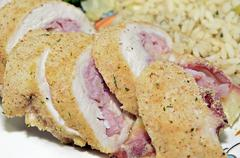 Chicken cordon blue Stock Photos
