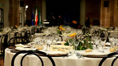Rows of tables set for dinner or lunch. Stock Footage