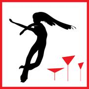 Abstraction WOMAN silhouette black and red glass Stock Illustration