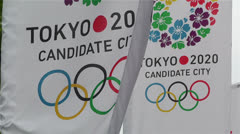 Tokyo 2020 Olympic Games Canditate Flags 7 Stock Footage