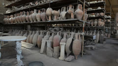 Ancient artefacts in Pompeii Stock Footage