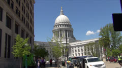 Capitol from One Block Away - Madison, WI Stock Footage