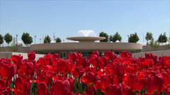 Tulips over fountain - Monona Terrace - Madison, WI Stock Footage