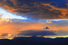 sunset over mt. mansfield, vt, usa - stock photo
