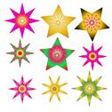 Stock Illustration of set abstract spherical luminous gold stars