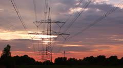 Electricity pylons. Sunset Timelapse - stock footage