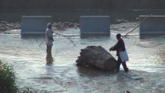 Poachers Men Fishing with a Net on a Prohibition Period in River, Poaching - stock footage