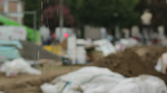 A rainy day at a construction site - stock footage