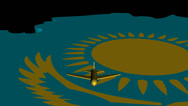 Stock Video Footage of Plane taking off from Kazakhstan map flag animation