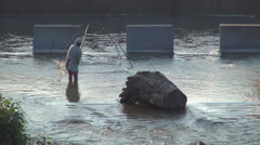 Poacher Men Fishing with a Net on a Prohibition Period in River, Poaching - stock footage