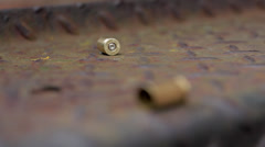 Spent bullet cases Stock Footage